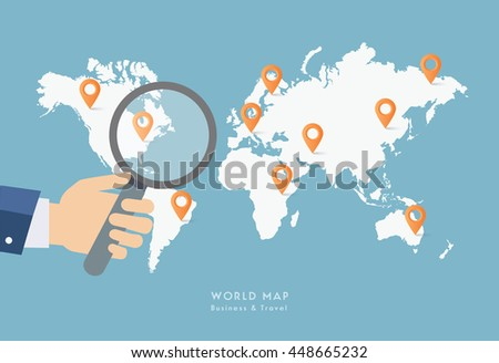 Hand holding magnifying glass on world map. - stock vector