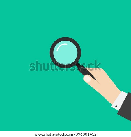 Hand holding magnifying glass vector illustration template, simple black magnifier in business man hand, symbol of investigation, analyzing modern flat design isolated on green background - stock vector