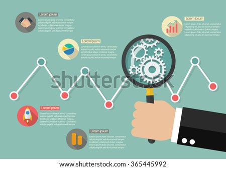 Hand holding magnifying glass with stock market graph infographic. Data analysis - stock vector