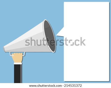 Hand holding megaphone and place for your text shaped as speech bubble, flat design, vector eps10 illustration - stock vector