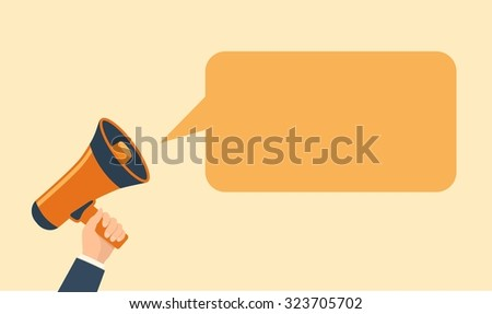 Hand holding megaphone and speech bubble. Flat design vector illustration