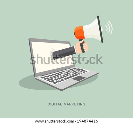 Hand holding megaphone coming out from laptop. Digital marketing - stock vector