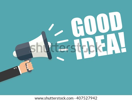 Hand holding megaphone - good idea - stock vector