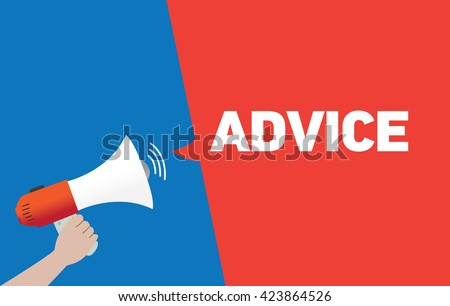 Hand Holding Megaphone with ADVICE Announcement - stock vector