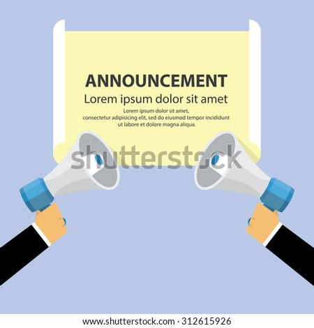 Hand holding megaphone with announce paper - stock vector