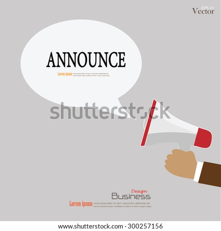 Hand holding megaphone with  announce word.announcement background.vector illustration. - stock vector