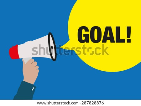 Hand Holding Megaphone with GOAL Announcement - stock vector