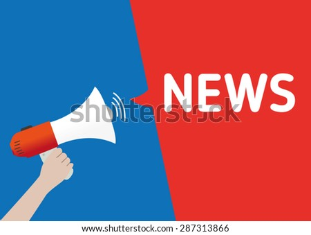 Hand Holding Megaphone with NEWS Announcement - stock vector