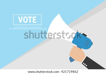 Hand Holding Megaphone with VOTE Announcement - stock vector