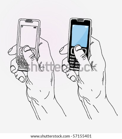Hand Holding Mobile - stock vector