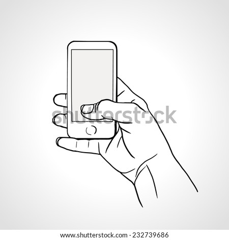 Hand Holding Mobile, arm with cell, line art drawing hand with mobile phone. Vector illustration - stock vector
