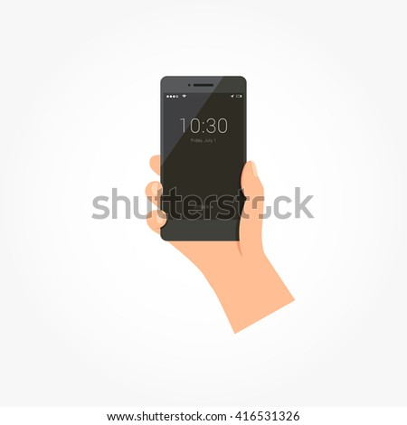 Hand Holding Mobile Phone Lock Screen Vector