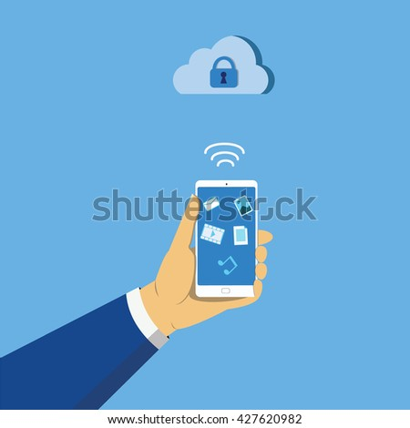 hand holding mobile phone signal cloud with lock vector illustration - stock vector