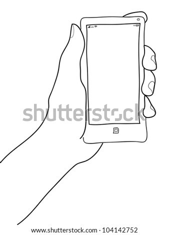 Hand holding mobile phone  Vector illustration.