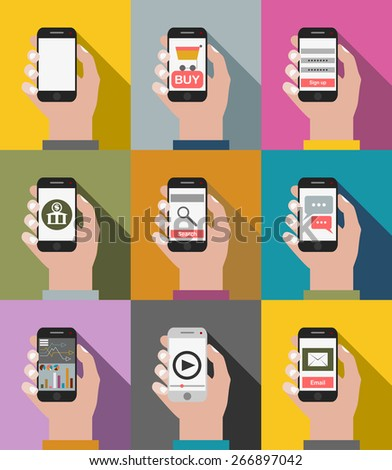 Hand holding mobile phone with icons. - stock vector