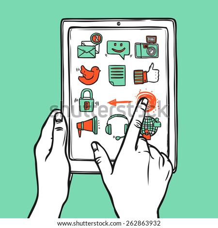 Hand holding mobile tablet with social sketch media icons vector illustration - stock vector