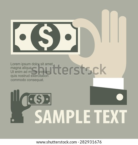 Hand holding money, business concept, vector illustration - stock vector