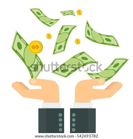 Hand Holding Money Businessman Hands Catch Stock Vector 542693782