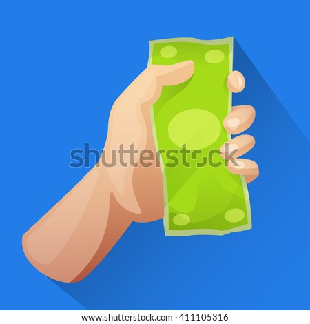 Hand holding money vector icon in flat style. Money in hand reward deal cash icon. Business icon. Dollar icon. Finance illustration. Pay and buy icon. For info graphic, web, mobile app icon.  - stock vector