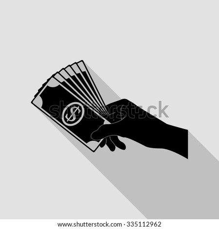 hand holding money vector icon with long shadow - stock vector