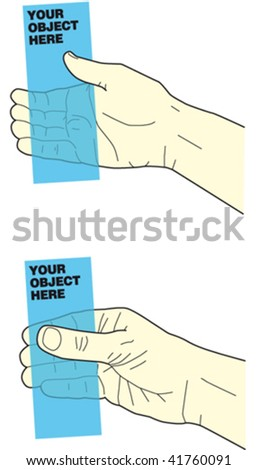 hand holding object 3 - stock vector