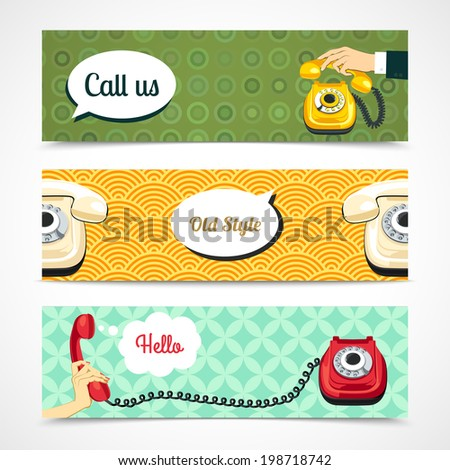 Hand holding old telephone retro banners horizontal isolated vector illustration - stock vector