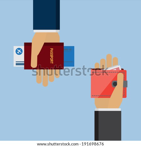 hand holding passport and Air travel concept - stock vector