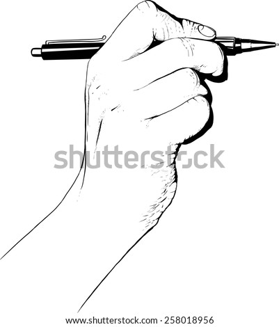 Hand holding pen drawn as engraving and isolated on white background - stock vector