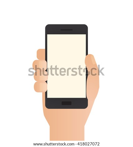 Hand Holding Phone - stock vector