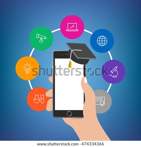 Hand holding phone with academy hat with colorful icons around. Empty display. Useful for mobile applications, web design, social media advertisement posters, branding, flyers and brochures.