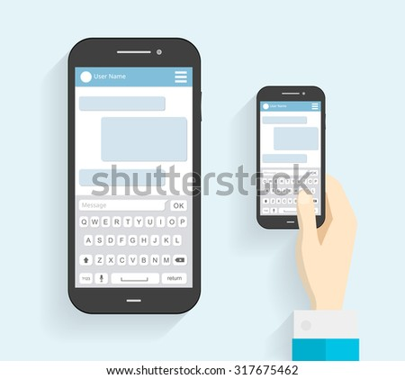 Hand Holding Phone with Keyboard. Phone Message Template. Phone icon. Flat long shadow. vector illustration - stock vector - stock vector