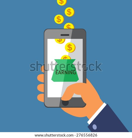Hand holding smart phone and Earning Money - stock vector