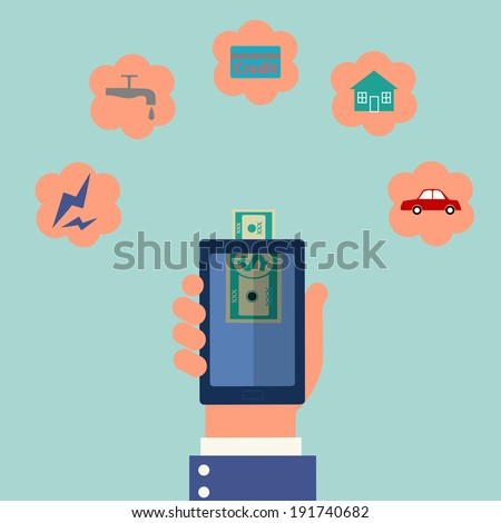hand holding smart phone and pay money,mobile banking concept,illustration - stock vector
