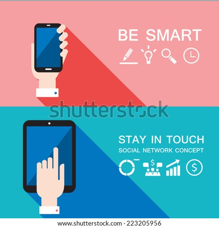 Hand holding smart phone and tablet. Modern flat design. Vector illustration - stock vector
