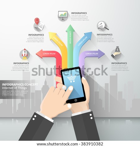 Hand holding smart phone, Internet of things concept