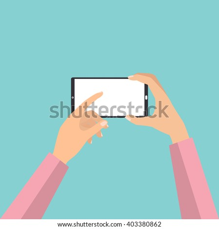 Hand holding smart phone touch screen for taking a photo. Vector illustration phone photography technology concept. - stock vector