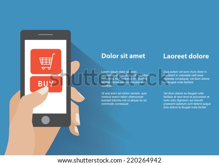 Hand holding smart phone with buy button on the screen. E-commerce flat design concept. Using mobile smart phone for online purchasing. Eps 10 vector - stock vector