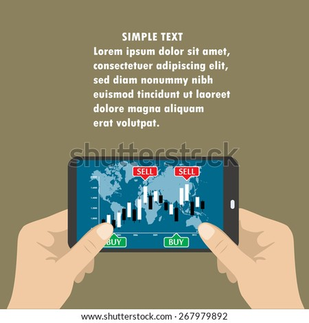 Hand holding smart phone with chart with the Japanese candles . Flat design - stock vector