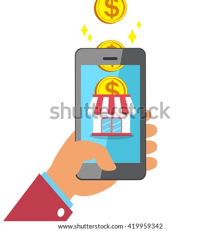 Hand holding smart phone with online business - stock vector