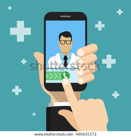 Hand holding smartphone to call the doctor. Medical consultation concept. Vector flat illustration.