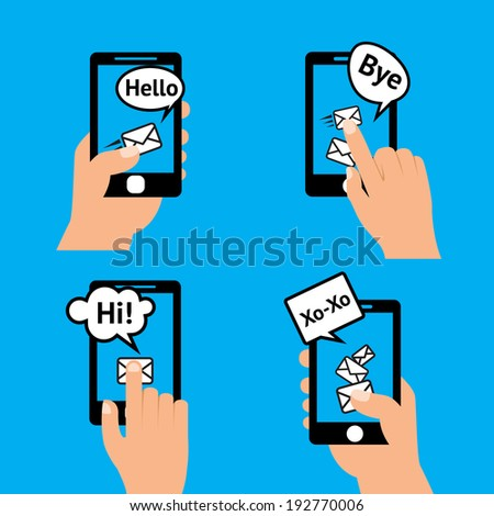Hand holding smartphone touching screen  sending receiving messages icons isolated vector illustration. - stock vector