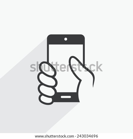 Hand holding smartphone - vector illustration - stock vector