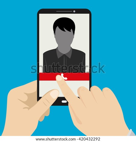 Hand holding smartphone with female silhouette icon on the screen,vector illustration - stock vector