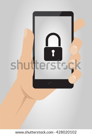 Hand holding smartphone with lock icon on display. Mobile Security concept, vector illustration - stock vector