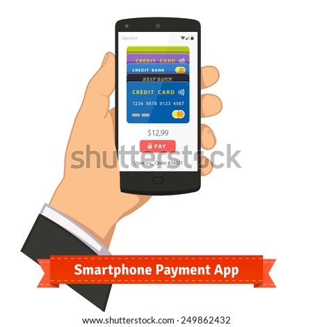 Hand holding smartphone with mobile payment app on screen. Flat style illustration or icon. EPS 10 vector. - stock vector