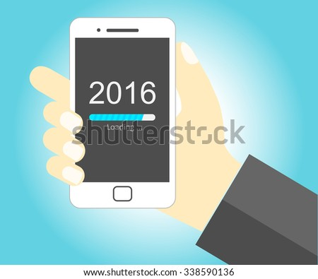 Hand holding smartphone with New Year 2016 loading progress bar - EPS Vector - stock vector