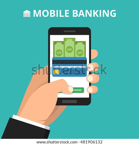 Hand holding smartphone with processing of mobile payments from credit card on the screen. Vector flat illustration.