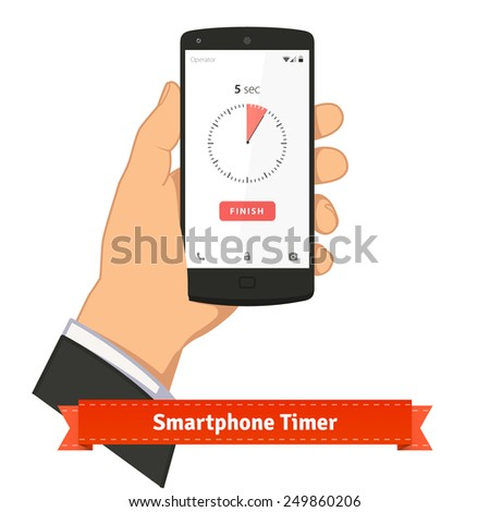 Hand holding smartphone with timer app on screen. Flat style illustration or icon. EPS 10 vector. - stock vector