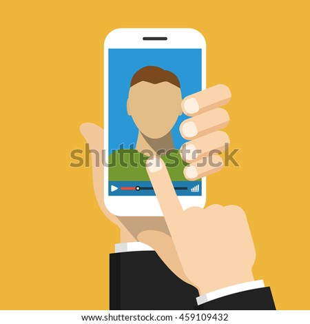 Hand holding smartphone with video online training on the screen. Vector flat illustration.