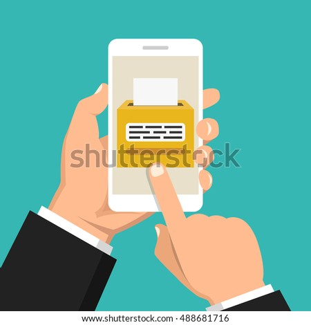 Hand holding smartphone with voting app on the screen. Flat vector illustration.